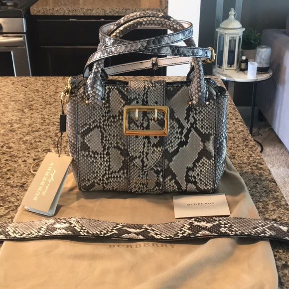 Burberry Handbags - NWT Burberry Python Buckle Handbag